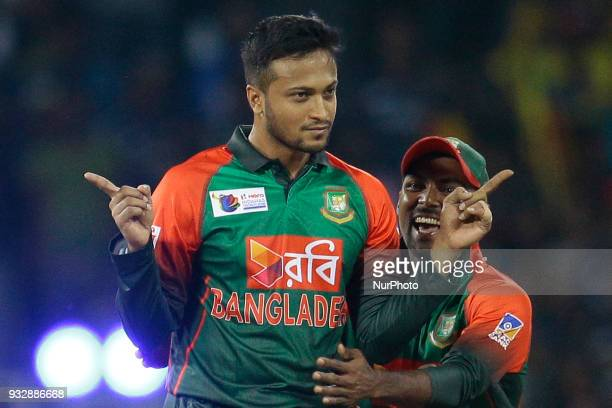 Bangladesh cricket captain Shakib Al Hasan celebrates during the 6th T20 cricket match of NIDAHAS Trophy between Sri Lanka and Bangladesh at R...