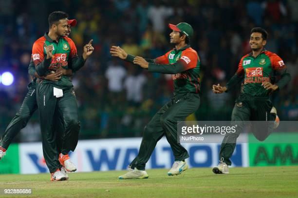 Bangladesh cricket captain Shakib Al Hasan celebrates during the 6th T20 cricket match of NIDAHAS Trophy between Sri Lanka and Bangladesh at R...