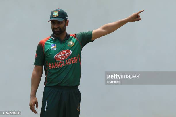 Bangladesh cricket captain Tamim Iqbal directs his players during the tour match between Sri Lanka Board President's XI and Bangladesh at P Sara oval...