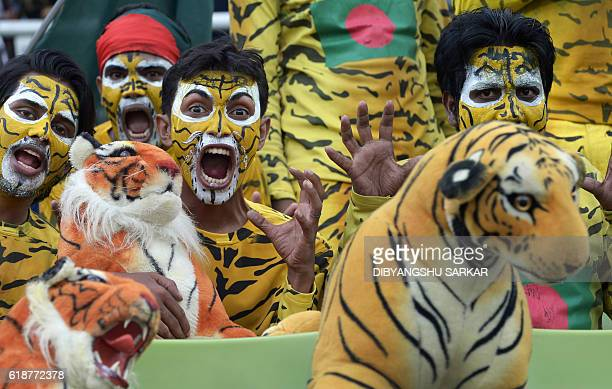 Bangladesh cricket fans, dressed as tigers, the symbol of Bangladesh cricket, cheer for their team during the first day of the second Test match...