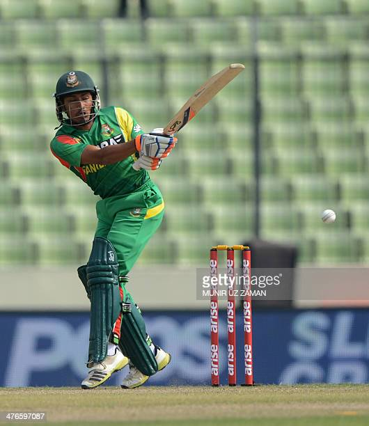 Bangladesh cricketer Anamul Haque plays a shot during the eighth match of the Asia Cup oneday cricket tournament between Bangladesh and Pakistan at...