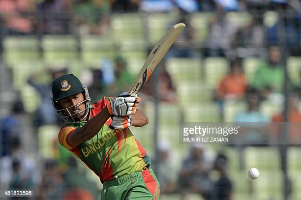 Bangladesh cricketer Anamul Haque plays a shot during the ICC World Twenty20 tournament Group 2 cricket match between Australia and Bangladesh at The...