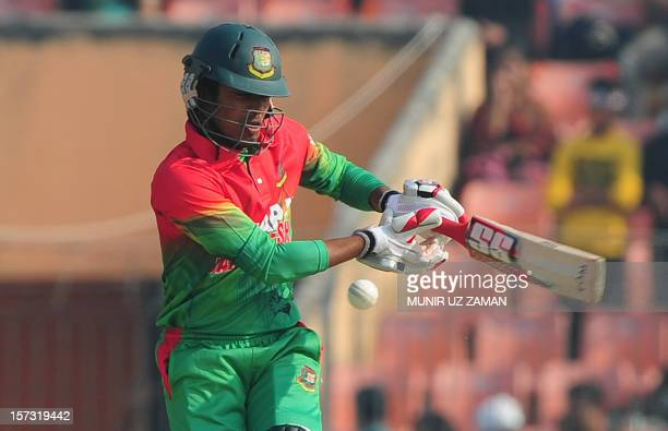 Bangladesh cricketer Anamul Haque plays a shot during the second one day international cricket match between Bangladesh and the West Indies at the...