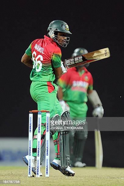 Bangladesh cricketer Anamul Haque plays a shot during the third and final oneday international match between Sri Lanka and Bangladesh at The...
