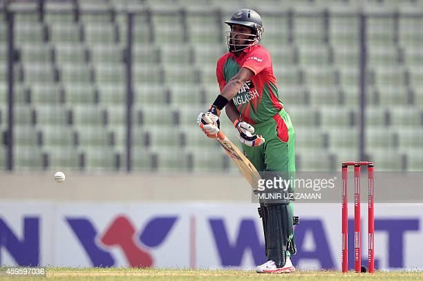 Bangladesh cricketer Anamul Haque plays a shot during the third oneday international cricket match between Bangladesh and Zimbabwe at the Shere...