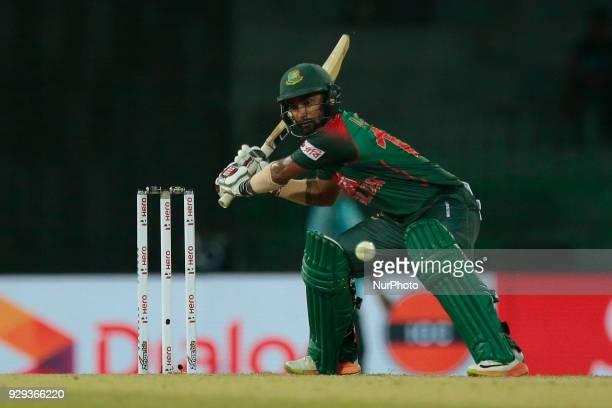 Bangladesh cricketer Liton Das plays a shot during the 2nd T20 cricket match of NIDAHAS Trophy between India and Bangladesh at R Premadasa cricket...