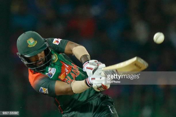 Bangladesh cricketer Liton Das plays a shot during the 3rd T20 cricket match of NIDAHAS Trophy between Sri Lanka and Bangladesh at R Premadasa...