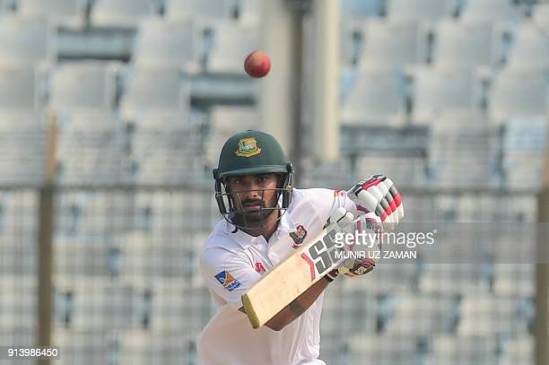 Bangladesh cricketer Liton Das plays a shot during the fifth and final day of the first cricket Test between Bangladesh and Sri Lanka at Zahur Ahmed...