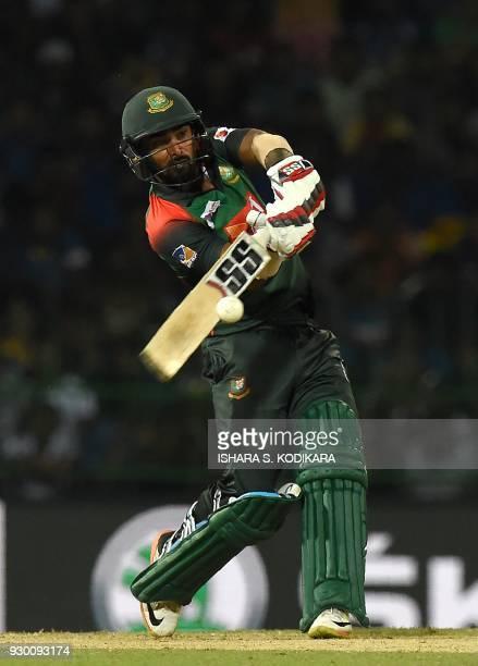 Bangladesh cricketer Liton Das plays a shot during the third Twenty20 international cricket match between Bangladesh and Sri Lanka of the trination...