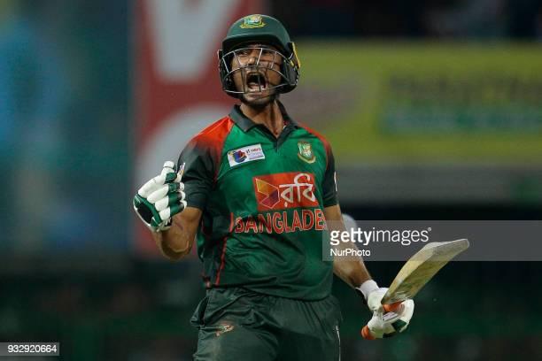 Bangladesh cricketer Mahmudullah Riyad celebrates the win against Sri Lankan cricket team during the 6th T20 cricket match of NIDAHAS Trophy between...