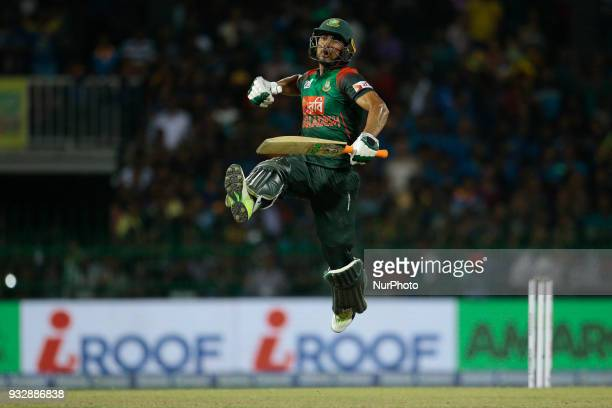 Bangladesh cricketer Mahmudullah Riyad leaps in the air in celebration after winning the 6th T20 cricket match of NIDAHAS Trophy between Sri Lanka...