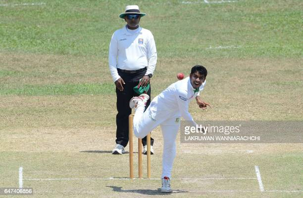 Bangladesh cricketer Mehedi Hasan delivers the ball during the second day of a twoday warmup cricket match between Sri Lanka President XI and...
