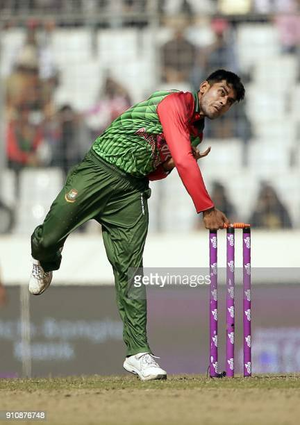 Bangladesh cricketer Mehedi Hasan Miraz bowls during the final one day international cricket match in the TriNations Series between Sri Lanka and...