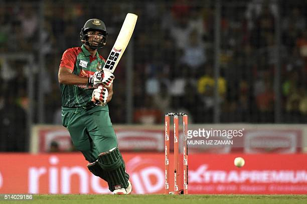 Bangladesh cricketer Mohammad Mahmudullah plays a shot during the Asia Cup T20 cricket tournament final match between Bangladesh and India at the...