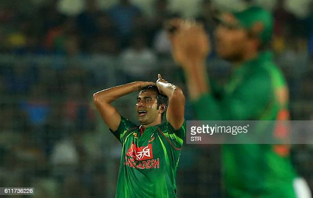 Bangladesh cricketer Mosharraf Hossain reacts during the third one day international cricket match between Bangladesh and Afghanistan at The...