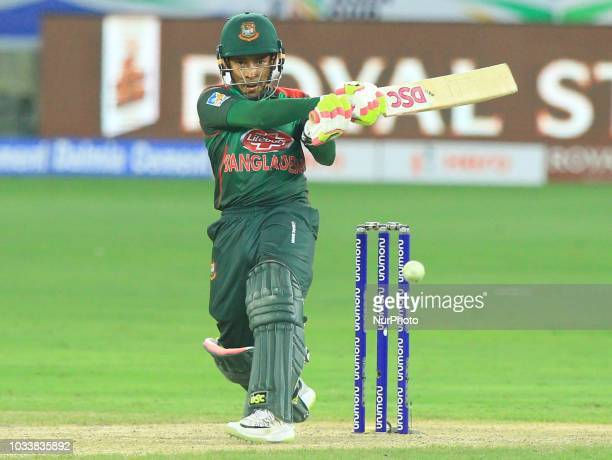 Bangladesh cricketer Mushfiqur Rahim plays a shot during the first cricket match of Asia Cup 2018 between Sri Lanka and Bangladesh in Dubai United...