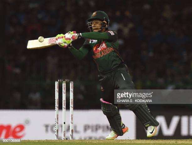 Bangladesh cricketer Mushfiqur Rahim plays a shot during the third Twenty20 international cricket match between Bangladesh and Sri Lanka of the...