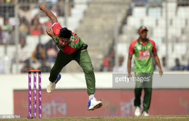 Bangladesh cricketer Mustafizur Rahman bowls during the final one day international cricket match in the TriNations Series between Sri Lanka and...