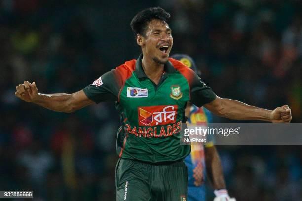 Bangladesh cricketer Mustafizur Rahman celebrates during the 6th T20 cricket match of NIDAHAS Trophy between Sri Lanka and Bangladesh at R Premadasa...