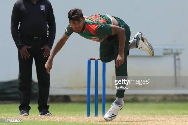 Bangladesh cricketer Mustafizur Rahman delivers a ball during the tour match between Sri Lanka Board President's XI and Bangladesh at P Sara oval...