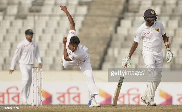 Bangladesh cricketer Mustafizur Rahman delivers a ball during the first day of the second cricket Test between Bangladesh and Sri Lanka at the...