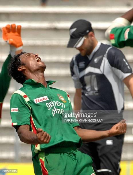Bangladesh cricketer Nayeem Islam celebrates after the dismissal of New Zealand batsman Daniel Vettori during the second One Day International...