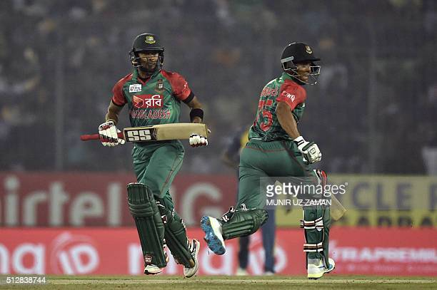 Bangladesh cricketer Sabbir Rahman and Shakib Al Hasan run between the wickets during the match between Bangladesh and Sri Lanka at the Asia Cup T20...