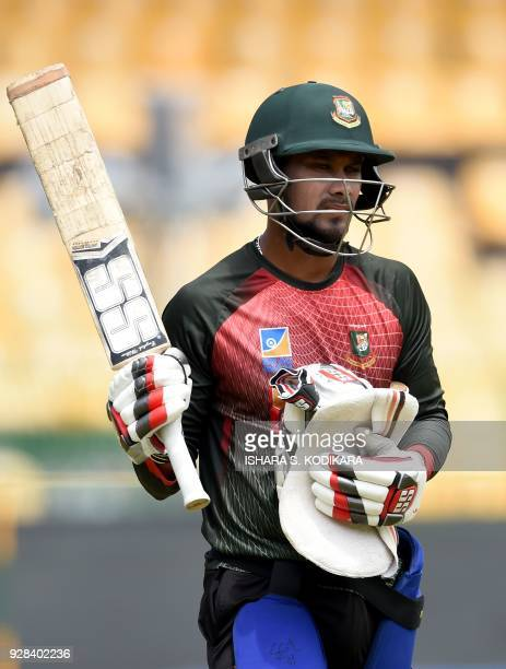 Bangladesh cricketer Sabbir Rahman looks on during a practice session at R Premadasa International Cricket Stadium in Colombo on March 7 2018 / AFP...
