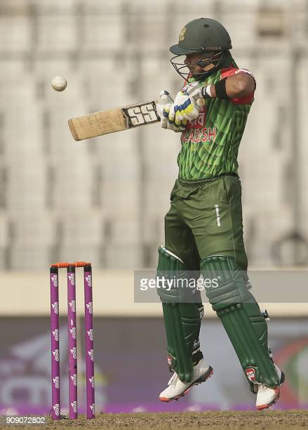 Bangladesh cricketer Sabbir Rahman plays a shot during the fifth one day international cricket match in the TriNations Series between Sri Lanka and...