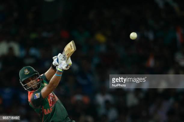 Bangladesh cricketer Sabbir Rahman plays a shot during the final Twenty20 cricket match of NIDAHAS Trophy between Bangladesh and India at R Premadasa...