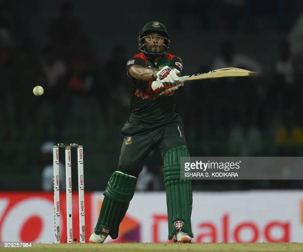 Bangladesh cricketer Sabbir Rahman plays a shot during the second Twenty20 international cricket match between Bangladesh and India of the trination...