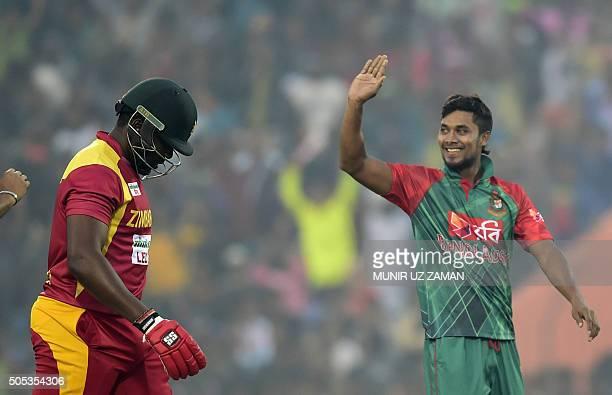 Bangladesh cricketer Sabbir Rahman reacts after the dismissal of the Zimbabwe cricket captain Hamilton Masakadza during the second T20 cricket match...