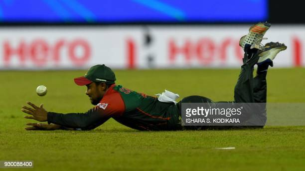 Bangladesh cricketer Sabbir Rahman stop the ball during the third Twenty20 international cricket match between Bangladesh and Sri Lanka of the...