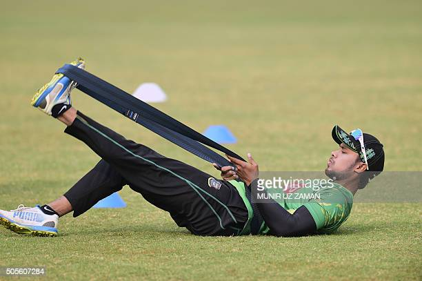 TOPSHOT Bangladesh cricketer Sabbir Rahman stretches during a team training session at the Sheikh Abu Naser Stadium in Khulna on January 19 2016 /...