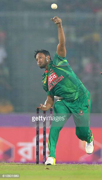 Bangladesh cricketer Shakib Al Hasan delivers a ball during the second One Day International cricket match between Bangladesh and Afghanistan at the...
