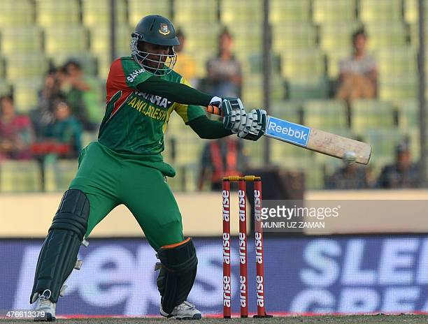 Bangladesh cricketer Shakib Al Hasan plays a shot during the eighth match of the Asia Cup oneday cricket tournament between Bangladesh and Pakistan...