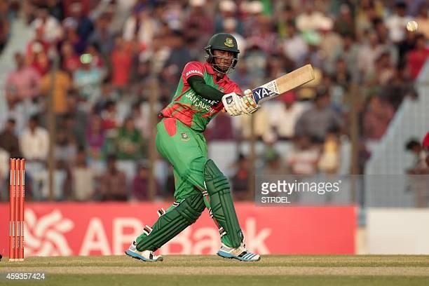 Bangladesh cricketer Shakib Al Hasan plays a shot during the first one day international match between Bangladesh and Zimbabwe at The Zahur Ahmed...