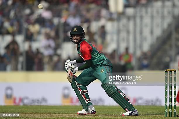 Bangladesh cricketer Shakib Al Hasan plays a shot during the first oneday international match between Bangladesh and Zimbabwe at the Shere Bangla...