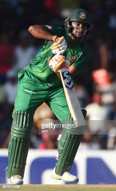 Bangladesh cricketer Shakib Al Hasan plays a shot during the first one day international cricket match between Sri Lanka and Bangladesh at The...