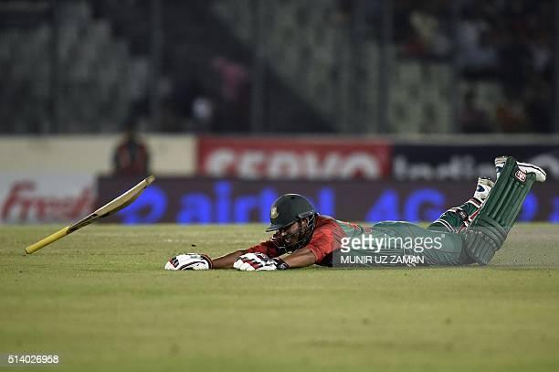 Bangladesh cricketer Soumya Sarkar jumps during a run at the Asia Cup T20 cricket tournament final match between Bangladesh and India at the...