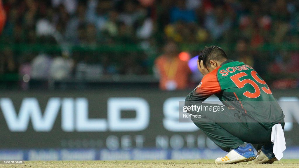 Bangladesh cricketer Soumya Sarkar reacts after the defeat against Indian cricket team during the final Twenty-20 cricket match of NIDAHAS Trophy between Bangladesh and India at R Premadasa cricket ground, Colombo, Sri Lanka on Sunday 18 March 2018.