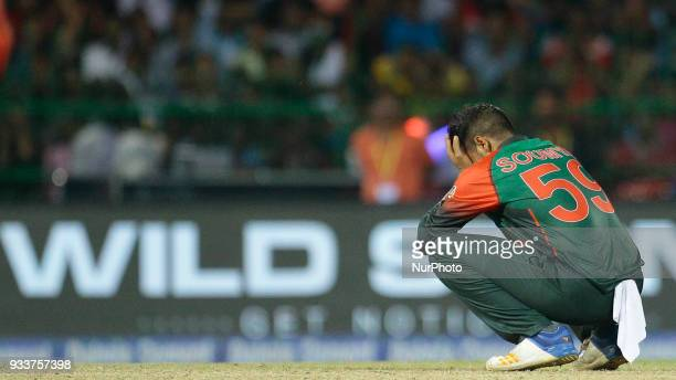 Bangladesh cricketer Soumya Sarkar reacts after the defeat against Indian cricket team during the final Twenty20 cricket match of NIDAHAS Trophy...