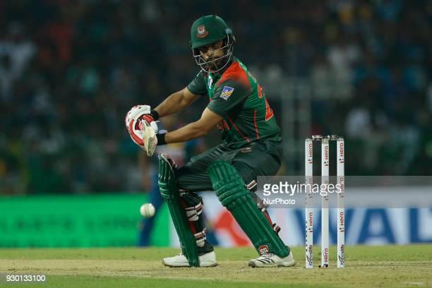Bangladesh cricketer Tamim Iqbal plays a shot during the 3rd T20 cricket match of NIDAHAS Trophy between Sri Lanka and Bangladesh at R Premadasa...
