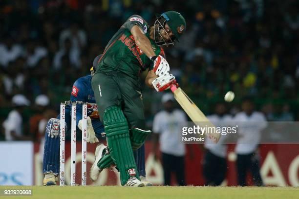 Bangladesh cricketer Tamim Iqbal plays a shot during the 6th T20 cricket match of NIDAHAS Trophy between Sri Lanka and Bangladesh at R Premadasa...