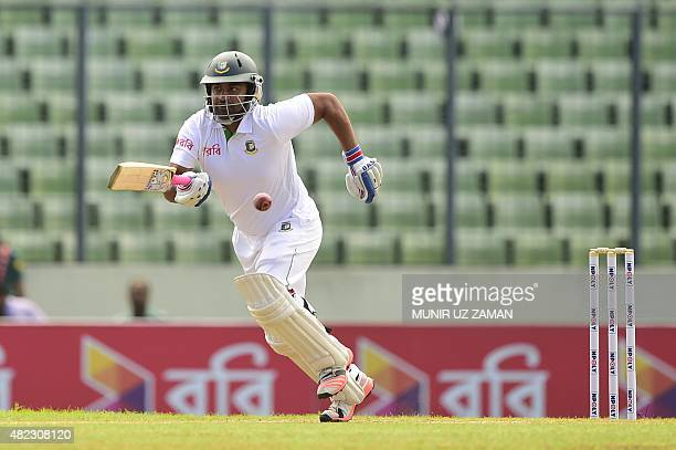 Bangladesh cricketer Tamim Iqbal plays a shot during the first day of the second cricket Test match between Bangladesh and South Africa at the...