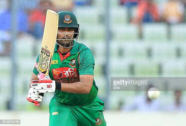 Bangladesh cricketer Tamim Iqbal plays a shot during the first one day international cricket match between Afghanistan and Bangladesh at the...