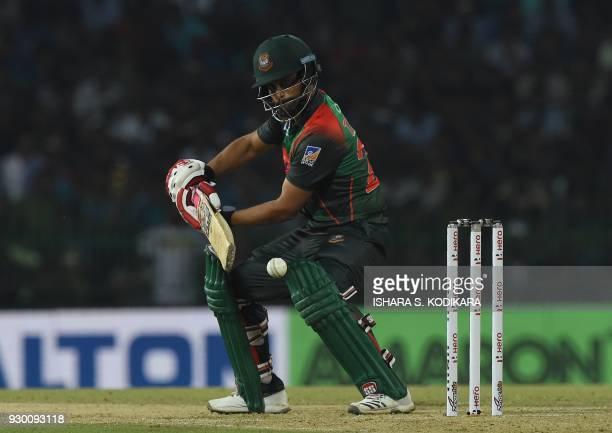 Bangladesh cricketer Tamim Iqbal plays a shot during the third Twenty20 international cricket match between Bangladesh and Sri Lanka of the trination...
