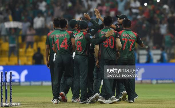 Bangladesh cricketer team celebrates after Bangladesh won by 37 runs during the one day international Asia Cup cricket match between Bangladesh and...