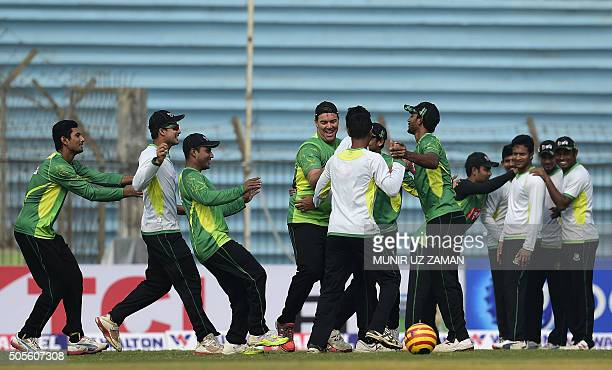 Bangladesh cricketers attend a team training session at the Sheikh Abu Naser Stadium in Khulna on January 19 2016 AFP PHOTO/ Munir uz ZAMAN / AFP /...