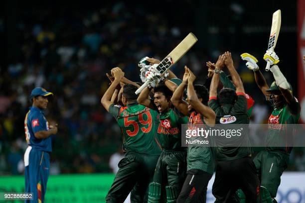 Bangladesh cricketers celebrate after winning the 6th T20 cricket match of NIDAHAS Trophy between Sri Lanka and Bangladesh at R Premadasa cricket...